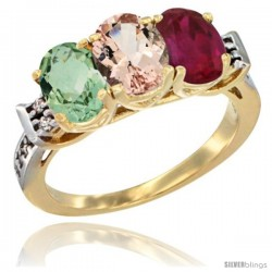 10K Yellow Gold Natural Green Amethyst, Morganite & Ruby Ring 3-Stone Oval 7x5 mm Diamond Accent