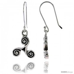 Sterling Silver Celtic Threefold Knot Dangle Earrings, 1 3/16 in tall