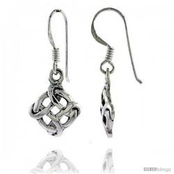 Sterling Silver Infinity Cross in Wreath Celtic Dangle Earrings, 1 1/8 in tall