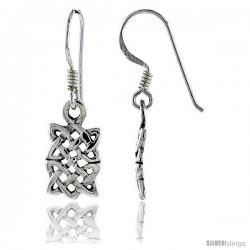 Sterling Silver Celtic Dangle Earrings, 1 1/8 in tall