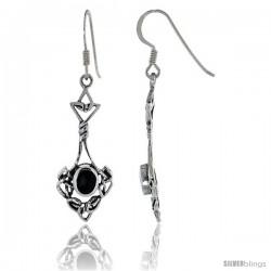 Sterling Silver Celtic Knot Dangle Earrings, w/ Oval shape Black Onyx Stone, 1 3/4 in tall