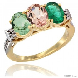 10K Yellow Gold Natural Green Amethyst, Morganite & Emerald Ring 3-Stone Oval 7x5 mm Diamond Accent