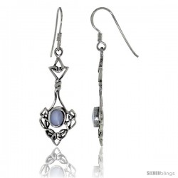 Sterling Silver Celtic Knot Dangle Earrings, w/ Oval shape Mother of Pearl, 1 3/4 in tall