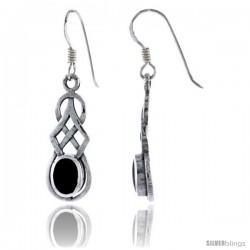 Sterling Silver Celtic Knot Dangle Earrings, w/ Oval Cut Black Onyx Stone, 1 1/2 in tall