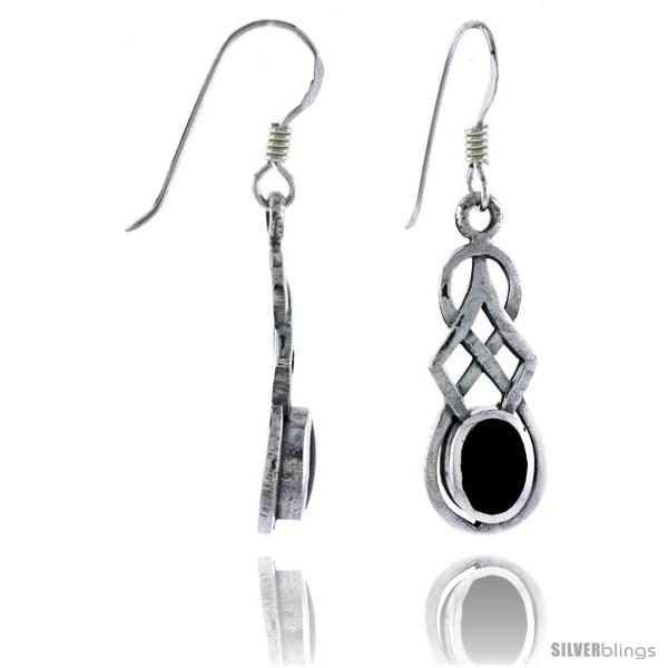 Black Onyx Celtic Knot Design Sterling Silver Earrings
