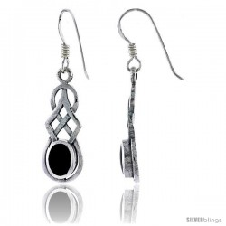Sterling Silver Trinity Celtic Knot Dangle Earrings, w/ Oval Cut Black Onyx Stone, 1 1/2 in tall