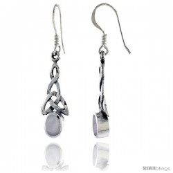 Sterling Silver Trinity Celtic Knot Dangle Earrings, w/ Oval Cut Mother of Pearl, 1 1/2 in tall