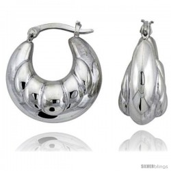 "Sterling Silver High Polished Puffed Hoop Earrings, 15/16"" Long"