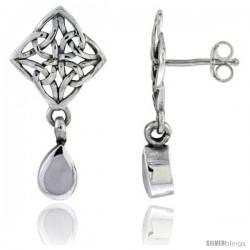 Sterling Silver Celtic Knot post Earrings, w/ Pear shape Dangle Mother of Pearl, 1 1/16 in tall
