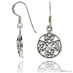 Sterling Silver celtic 4-Way Heart Knot Dangle Earrings, 1 1/4 in tall