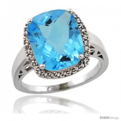 Sterling Silver Diamond Natural Swiss Blue Topaz Ring 5.17 ct Checkerboard Cut Cushion 12x10 mm, 1/2 in wide