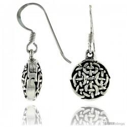 Sterling Silver Celtic Dangle Earrings, 1 1/16 in tall