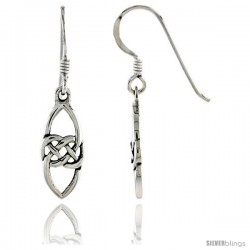 Sterling Silver Marquise-shaped Celtic Dangle Earrings, 1 3/16 in tall