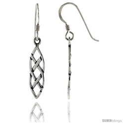 Sterling Silver Interlacing Marquise-shaped Braids Celtic Dangle Earrings, 1 7/16 in tall