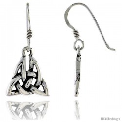 Sterling Silver Celtic Triquetra Dangle Earrings, 1 in tall