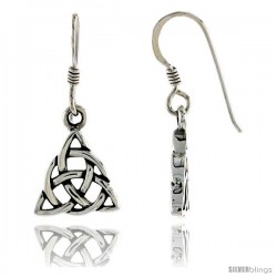 Sterling Silver Celtic Triquetra Dangle Earrings, 1 in tall -Style Te961