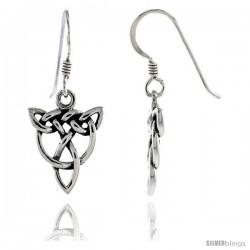 Sterling Silver Trinity in Wreath Celtic Dangle Earrings, 1 3/16 in tall