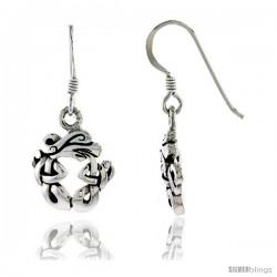 Sterling Silver Wreath Design Celtic Dangle Earrings, 1 3/16 in tall