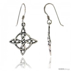 Sterling Silver 4-Point North Star Celtic Dangle Earrings, 1 3/8 in tall