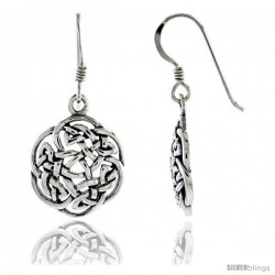 Sterling Silver Floral Knot Works Celtic Dangle Earrings, 1 1/4 in tall
