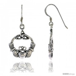 Sterling Silver Claddagh inIrish Friendship Symbol in Trinity Celtic Dangle Earrings, 1 3/8 in tall