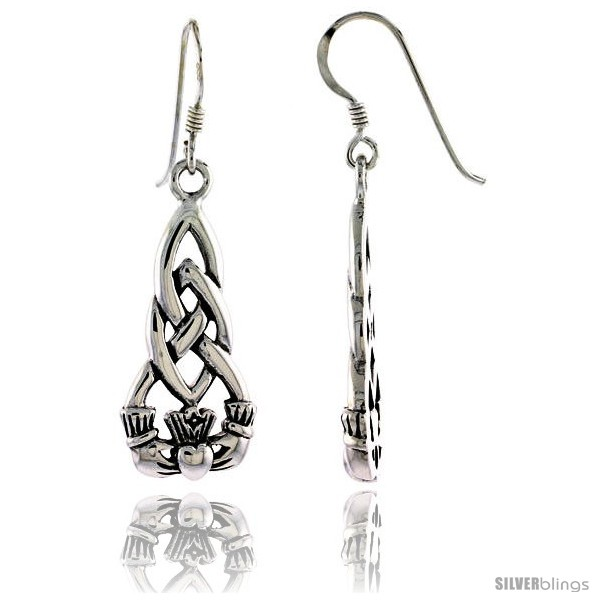 Sterling Silver Claddagh Inirish Friendship Symbol In Celtic Dangle
