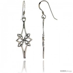 Sterling Silver Floral Celtic Dangle Earrings, 1 3/4 in tall