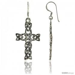 Sterling Silver Celtic Cross Dangle Earrings, 1 13/16 in tall