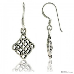Sterling Silver Celtic Quaternary Knot Dangle Earrings, 1 1/8 in tall