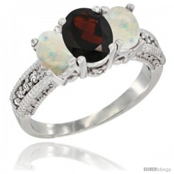 10K White Gold Ladies Oval Natural Garnet 3-Stone Ring with Opal Sides Diamond Accent