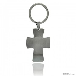 Stainless Steel Satin Finish Engravable Iron / Maltese Cross Keychain Key Tag Key Fob Key Ring, 3 1/2 in (87 mm) tall