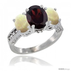 10K White Gold Ladies Natural Garnet Oval 3 Stone Ring with Opal Sides Diamond Accent