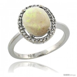 10k White Gold Diamond Halo Opal Ring 2.4 carat Oval shape 10X8 mm, 1/2 in (12.5mm) wide