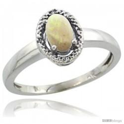 10k White Gold Diamond Halo Opal Ring 0.75 Carat Oval Shape 6X4 mm, 3/8 in (9mm) wide
