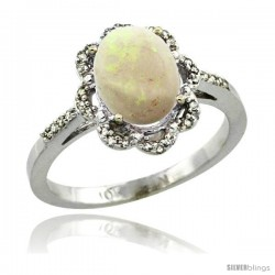 10k White Gold Diamond Halo Opal Ring 1.65 Carat Oval Shape 9X7 mm, 7/16 in (11mm) wide