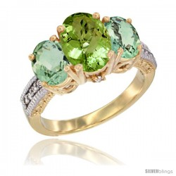 10K Yellow Gold Ladies 3-Stone Oval Natural Peridot Ring with Green Amethyst Sides Diamond Accent