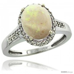 10k White Gold Diamond Opal Ring 2.4 ct Oval Stone 10x8 mm, 1/2 in wide