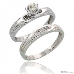 10k White Gold Ladies' 2-Piece Diamond Engagement Wedding Ring Set, 1/8 in wide -Style 10w114e2