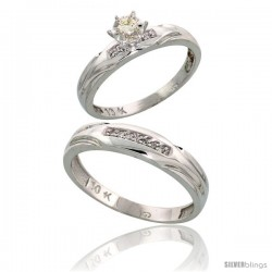 10k White Gold 2-Piece Diamond wedding Engagement Ring Set for Him & Her, 3.5mm & 4.5mm wide