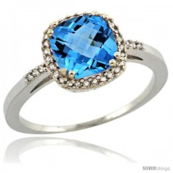 Sterling Silver Diamond Natural Swiss Blue Topaz Ring 1.5 ct Checkerboard Cut Cushion Shape 7 mm, 3/8 in wide