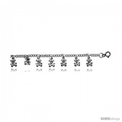 Sterling Silver Figaro Anklet w/ Teddy Bear Charms