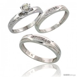 10k White Gold Diamond Trio Wedding Ring Set His 4.5mm & Hers 3.5mm