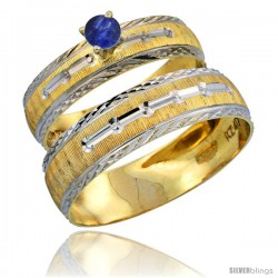 10k Gold 2-Piece 0.25 Carat Deep Blue Sapphire Ring Set (Engagement Ring & Man's Wedding Band) Diamond-cut Pattern Rhodium