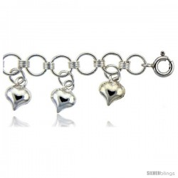 Sterling Silver Anklet w/ Heart Charms
