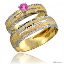 10k Gold 2-Piece 0.25 Carat Pink Sapphire Ring Set (Engagement Ring & Man's Wedding Band) Diamond-cut Pattern Rhodium Accent