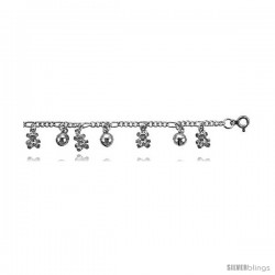 Sterling Silver Figaro Anklet w/ Teddy Bear & Chime Ball Charms