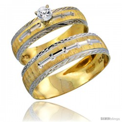 10k Gold 2-Piece 0.25 Carat White Sapphire Ring Set (Engagement Ring & Man's Wedding Band) Diamond-cut Pattern Rhodium Accent