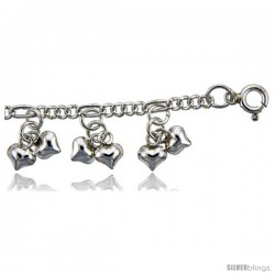 Sterling Silver Anklet w/ Clustered Teeny Heart Charms