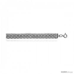 Sterling Silver Charm Bracelet w/ Teeny Flowers -Style 6cb401