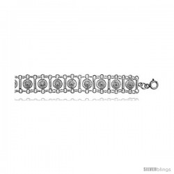 Sterling Silver Charm Bracelet w/ Flowers and Bars